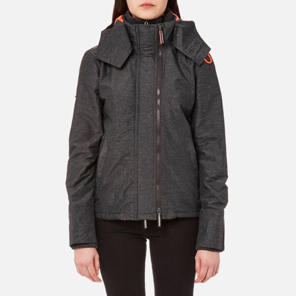 Superdry Women's Pop Zip Hood Arctic Windcheater Jacket - Black Marl/Fluro Cherry