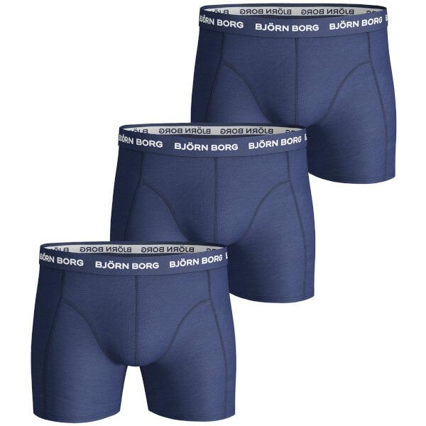 bjorn borg men 39 s 3 pack solids boxer shorts blue depths mens underwear. Black Bedroom Furniture Sets. Home Design Ideas