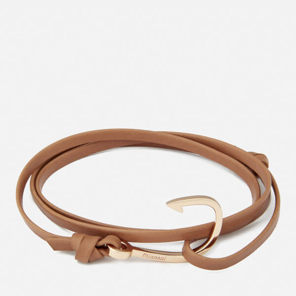 Miansai Men's Leather Bracelet with Rose Hook - Brown