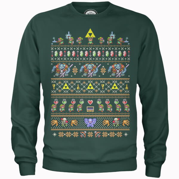 Nintendo Legend Of Zelda Retro Green Christmas Sweatshirt