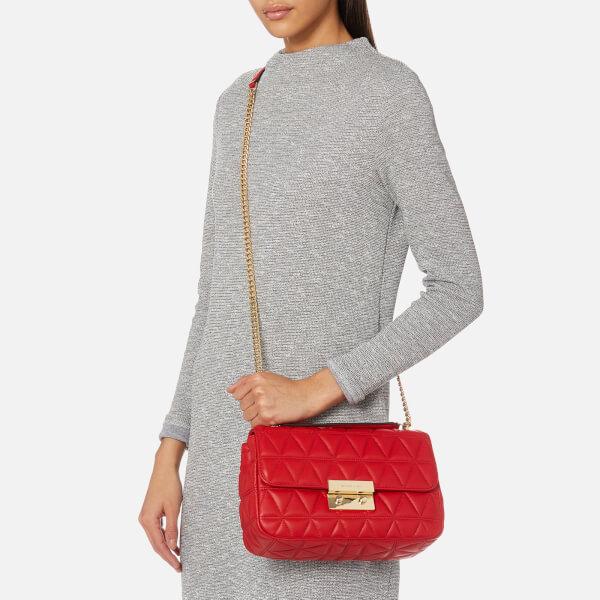 4bb450996ab72 MICHAEL MICHAEL KORS Women s Sloan Large Chain Shoulder Bag - Bright Red   Image 3