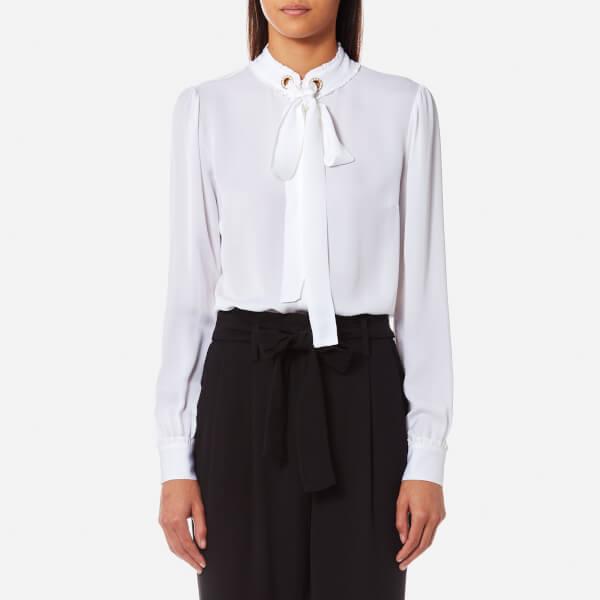 MICHAEL MICHAEL KORS Women's Grommet Neck Tie Blouse - White: Image 01