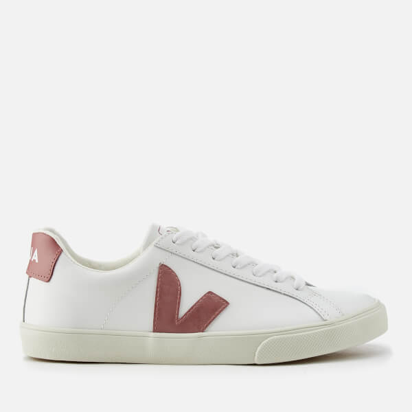 Veja Women's Esplar Leather Low Trainers - Extra White/Dried Petal
