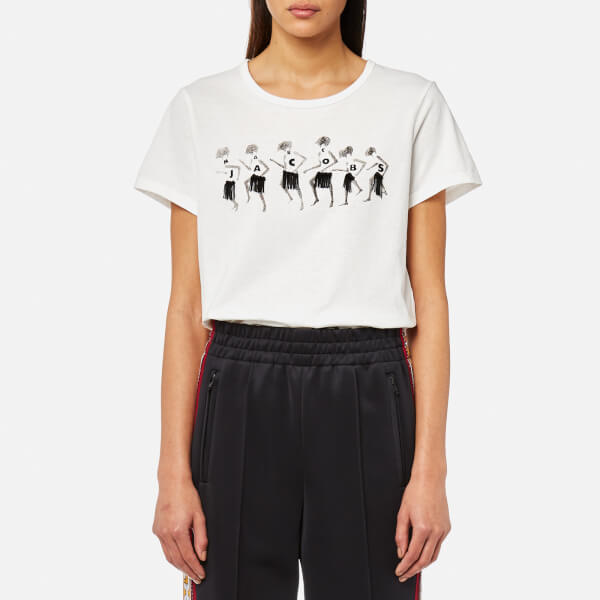 Marc Jacobs Womens Classic T Shirt With Embroidery Ivory Free