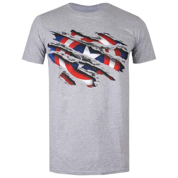 Marvel Men's Captain America Torn T-Shirt - Grey Heather