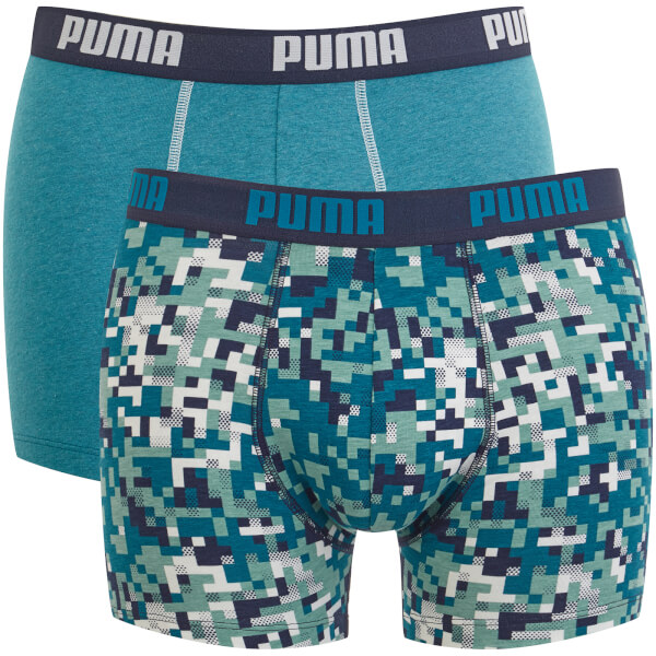 Puma Men's 2 Pack Blocking Print Boxers - Ocean Depths