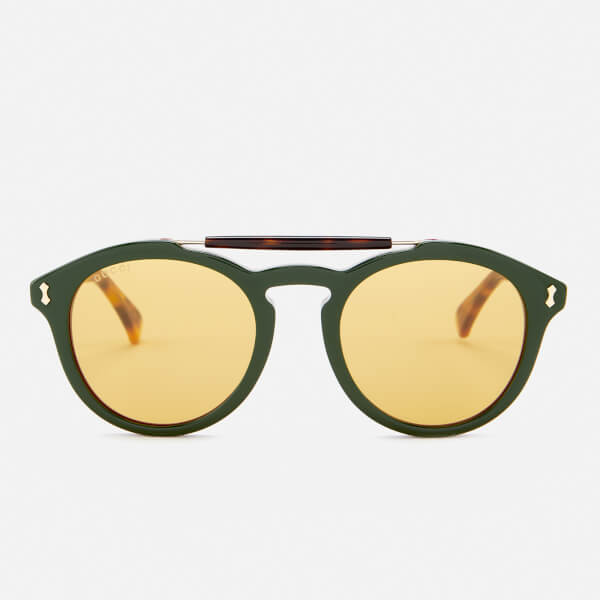Gucci Men's Flip Top Aviator Sunglasses - Havana/Green