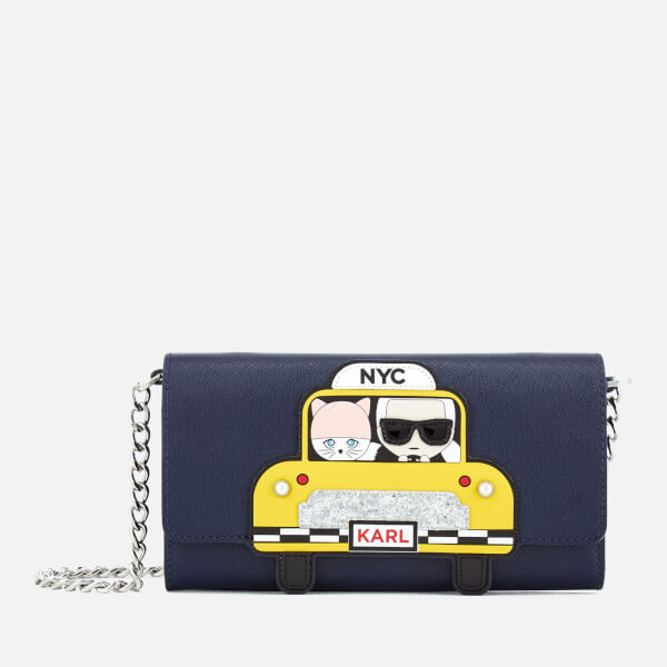 Karl Lagerfeld Women's Chain NYC Wallet - Navy