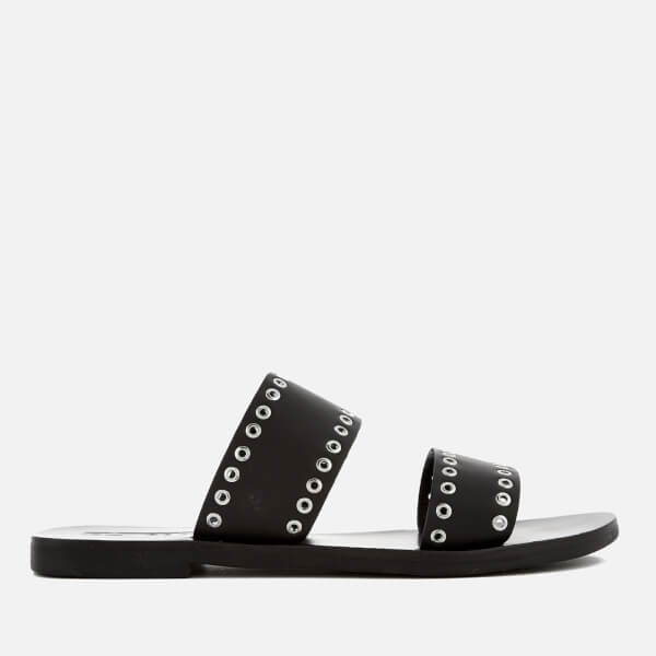 Sol Sana Women's Botany Leather Double Strap Sandals - Black