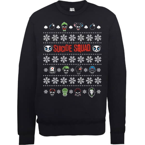 DC Comics Suicide Squad Character Faces Black Christmas Sweatshirt
