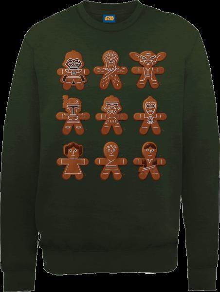 Star Wars Gingerbread Characters Green Christmas Sweatshirt