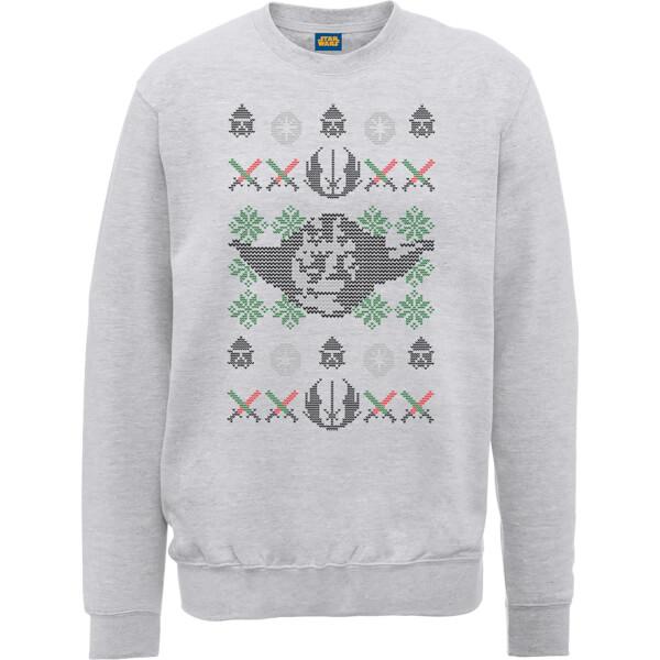 Star Wars Yoda Face Knit Grey Christmas Sweatshirt