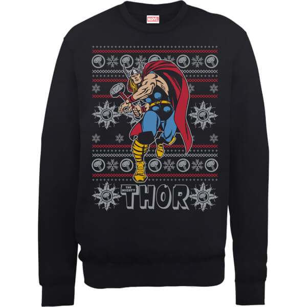 Marvel Comics The Mighty Thor Christmas Knit Black Christmas Sweatshirt