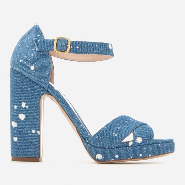 Rupert Sanderson Women's Savanna Platform Heeled Sandals - White Splash Denim