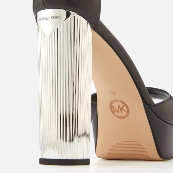 54d9a4a647f MICHAEL MICHAEL KORS Women s Paloma Leather Platform Heeled Sandals - Black   Image 5