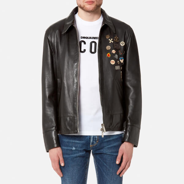 Dsquared2 Men's Leather 50's Rocker Leather Jacket with Pins - Black: Image  1