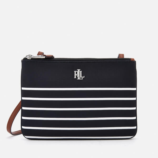 1dbaeabb8219 Lauren Ralph Lauren Women s Bainbridge Tara Cross Body Bag - Black White  Stripe  Image