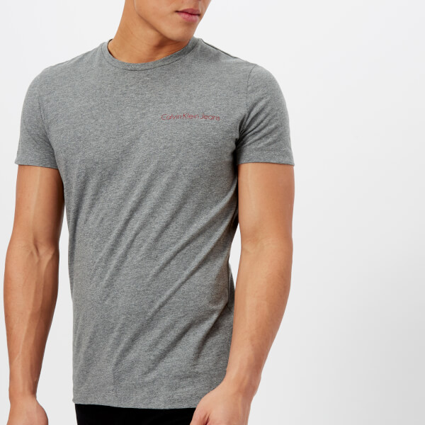 da5412abf231 Calvin Klein Men s Chest Logo Slim T-Shirt - Mid Grey Heather  Image 1