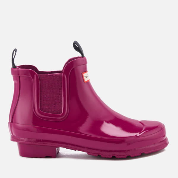 Hunter Kids' Original Gloss Chelsea Boots - Dark Ion Pink