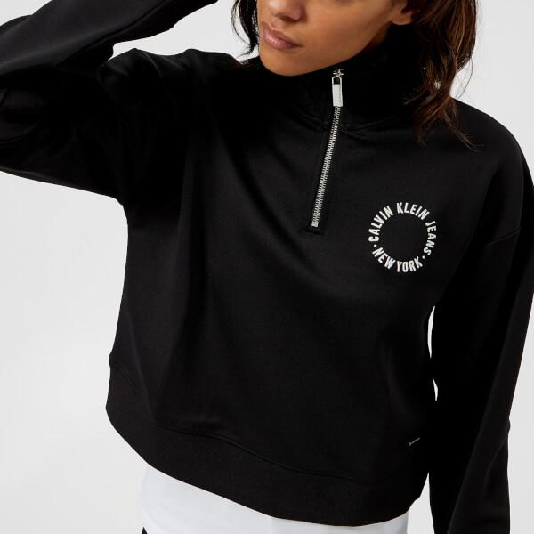 Calvin Klein Women's Harika Cropped Zip Top - Black: Image 1