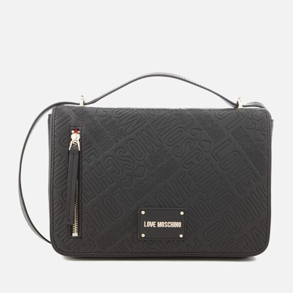 Love Moschino Women's All Over Logo Cross Body Bag - Black