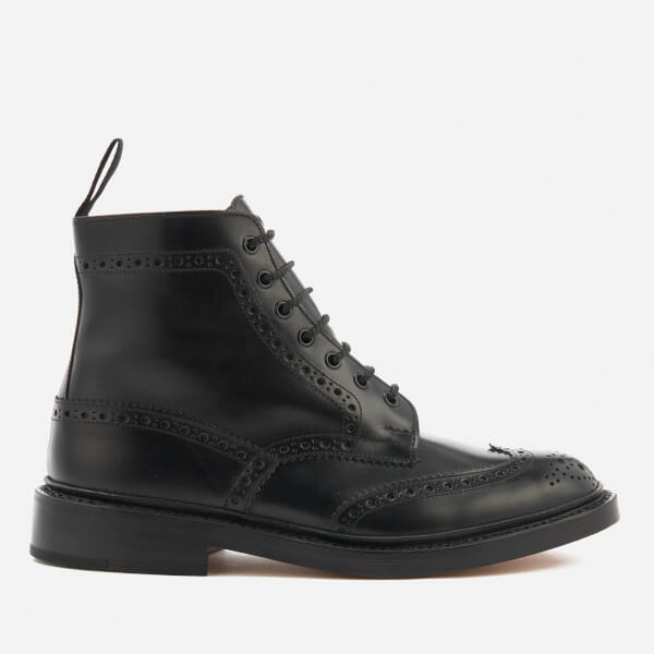 Tricker's Men's Stow Leather Brogue Lace Up Boots - Black