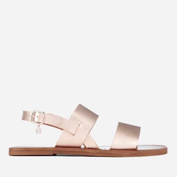 Dune Women's Lowpez Leather Double Strap Flat Sandals - Rose Gold