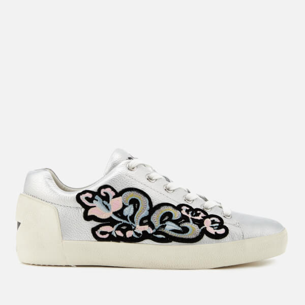 Ash Women's Nak Bis Tumbled Leather Low Top Trainers - Silver/Black