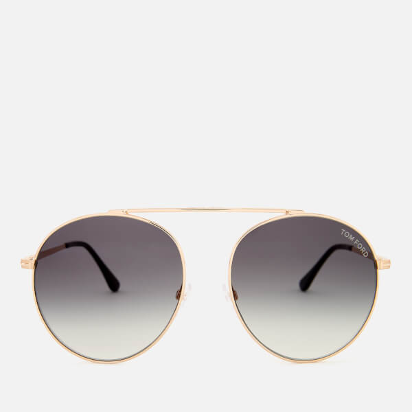 Tom Ford Women's Simone Aviator Style Sunglasses - Rose Gold/Gradient Smoke