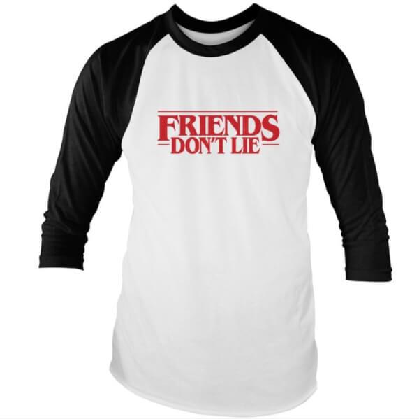 Friends Don't Lie Black And White Raglan T-Shirt
