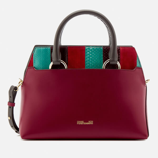 Diane von Furstenberg Women's Small Front Flap Satchel - Jade/Bright Red/Deep Fif
