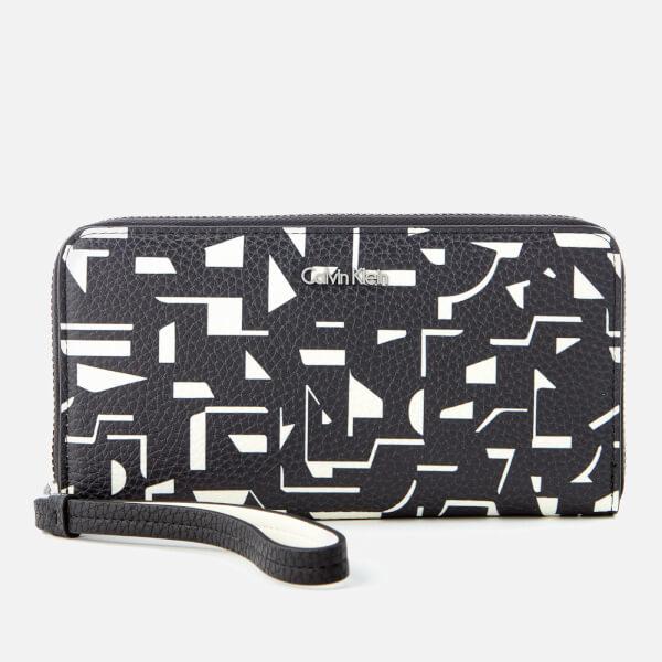 Calvin Klein Women's Edit Large Zip Around Print Purse - Black/Off White