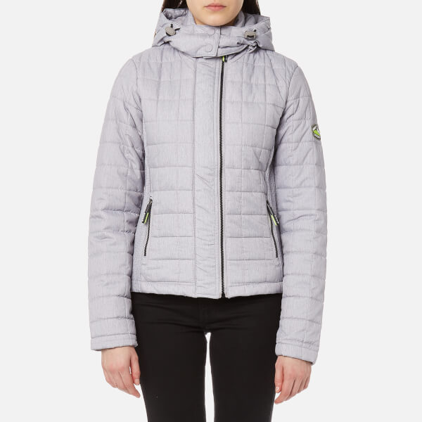 Superdry Women S Hooded Box Quilt Fuji Jacket Grey Cloud
