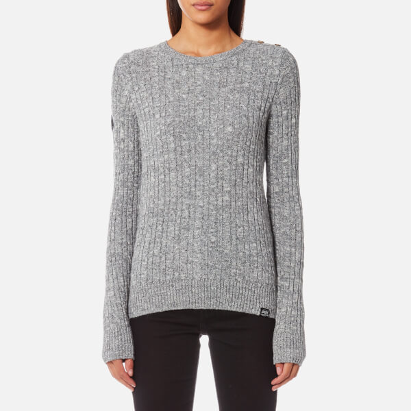b80d7884ab0f6 Superdry Women s Croyde Cable Knitted Jumper - Gamma Grey Marl  Image 1