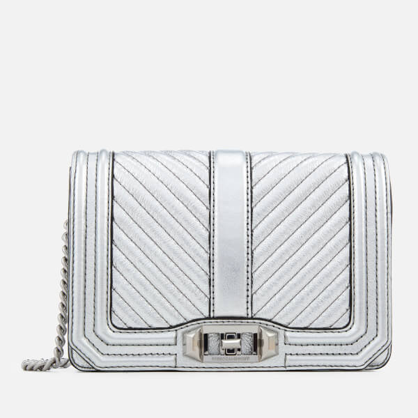 Rebecca Minkoff Women's Chevron Quilted Small Love Cross Body Bag - Silver