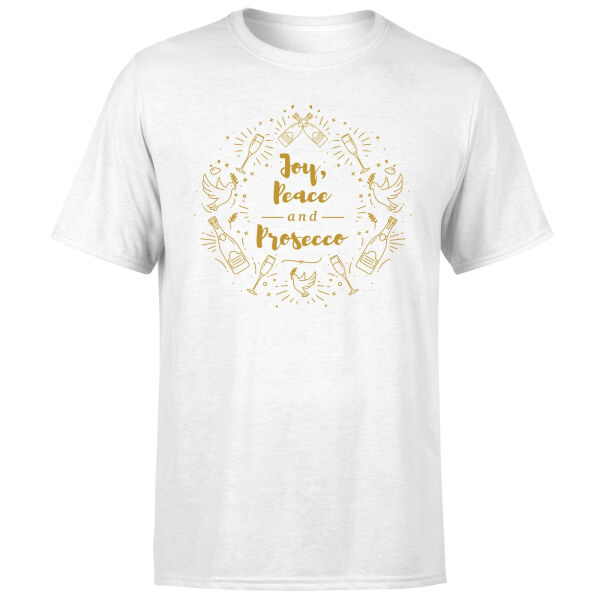 Joy, Peace And Prosecco T-Shirt - White