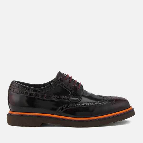 Paul Smith Men's Crispen High Shine Leather Stack Sole Brogues - Burgundy