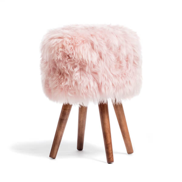 Royal Dream Heavenly Pink Sheepskin Stool