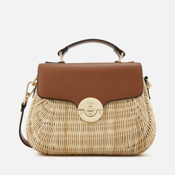 Dune Women's Wicker Bag with Leather Flap - Tan
