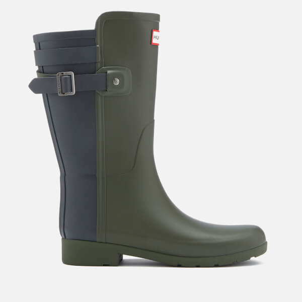 Hunter Women's Original Short Back Strap Refined Wellies - Dark Olive/Navy
