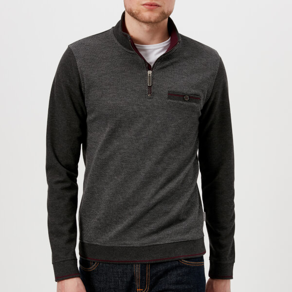 3d69e466762397 Ted Baker Men s Hownd Half Zip Knitted Jumper - Grey Mens Clothing ...