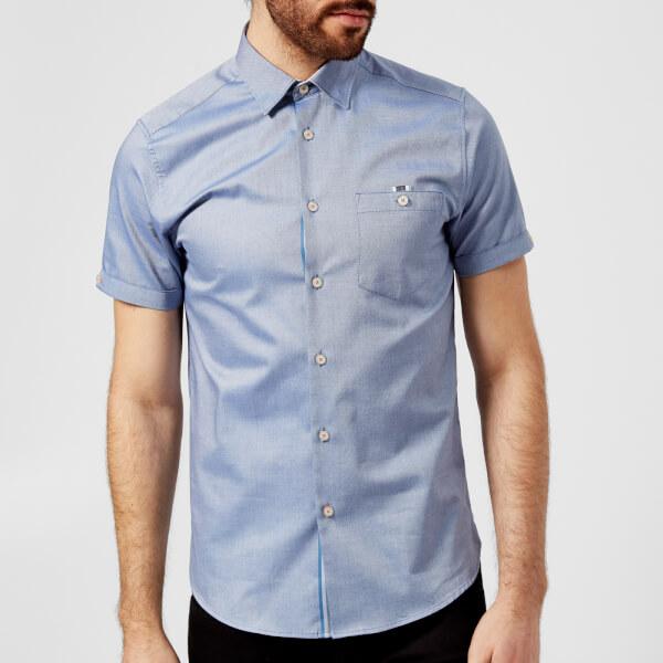 f58dc26ab33e Ted Baker Men s Wallo Short Sleeve Shirt - Blue Mens Clothing ...
