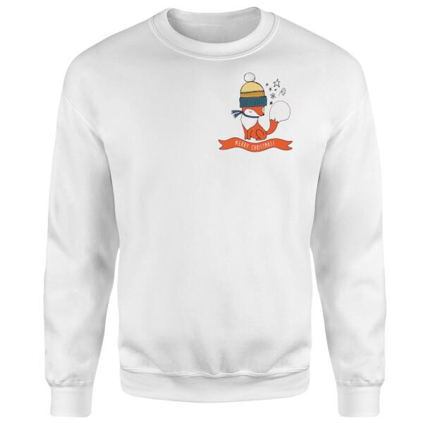 Christmas Fox Pocket Sweatshirt - White