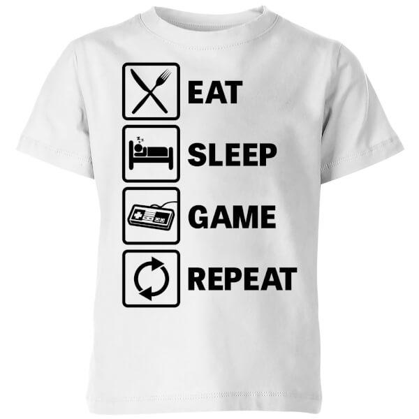 Eat Sleep Game Repeat Kids' T-Shirt - White