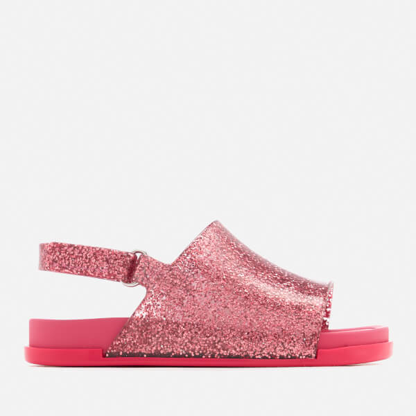Mini Melissa Toddlers Beach Slide Sandals - Pink Glitter