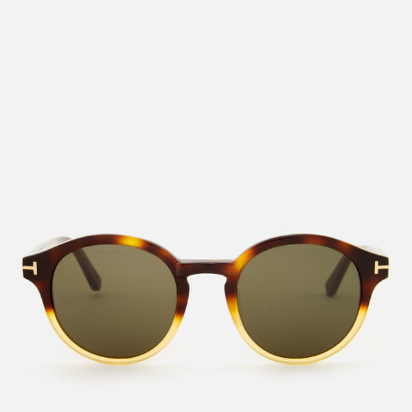 Tom Ford Men's Lucho Round Frame Sunglasses - Havana Gradient Beige/Green