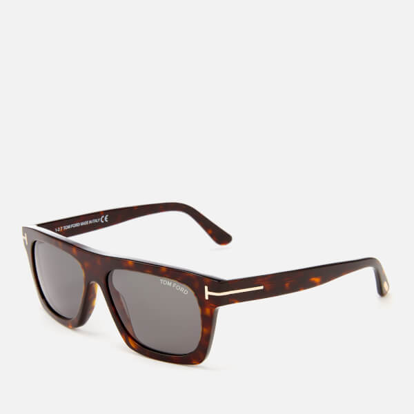 Tom Ford Men\'s Ernesto Square Frame Sunglasses - Shiny Black/Smoke
