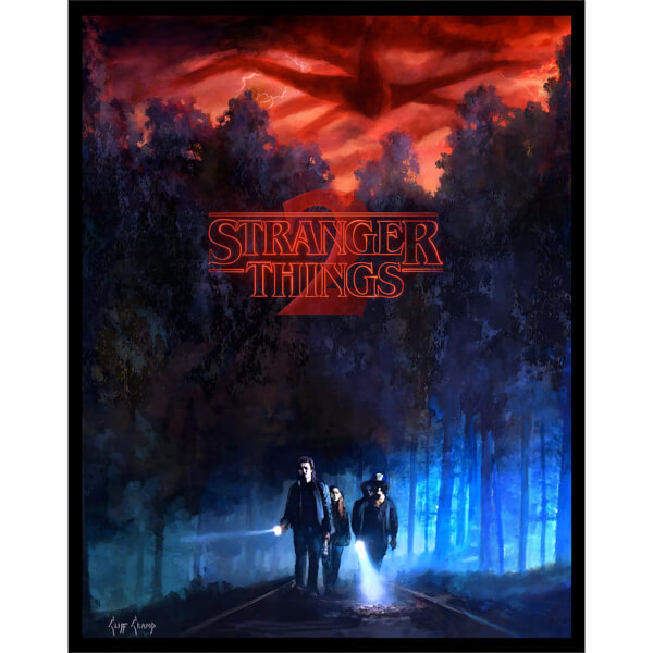 Stranger Things 2 'They're Going Somewhere' Lithograph with Glow in the Dark Layer by Cliff Cramp (18 x 22.75 Inch) - Zavvi UK Exclusive Limited to 250 Pieces