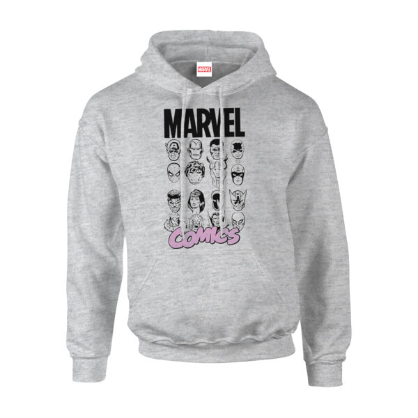 Marvel Comics Main Character Faces Men's Grey Pullover Hoodie