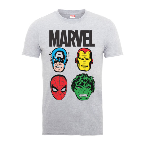 Marvel Comics Main Character Faces Men's Grey T-Shirt